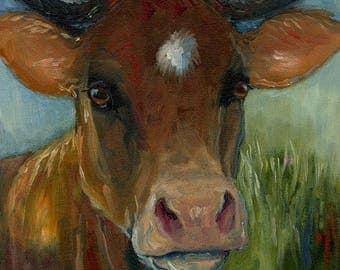 Brown Cow Original Oil Painting