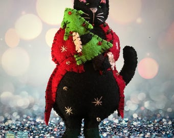 hand stitched Christmas black cat with tree Handcrafted felt Christmas tree decoration / felt hanging ornament chic felt / primitive decor /
