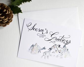 Hand painted Christmas card Season's Greetings / winter landscape