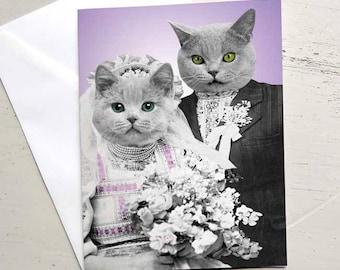 Cat wedding etsy cat wedding card wedding shower card card for anniversary cat bride and groom junglespirit Choice Image