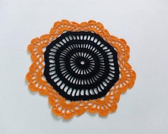 handmade crochet halloween doily, black doily, orange doily, small doily
