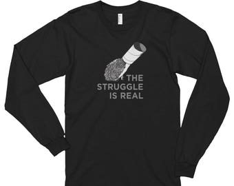 Hedgehog Shirt: The Struggle is Real Funny Long Sleeve Shirtt by Urchin WearLong sleeve t-shirt (unisex) - Funny Hedgehog Shirt - Hedgehog G