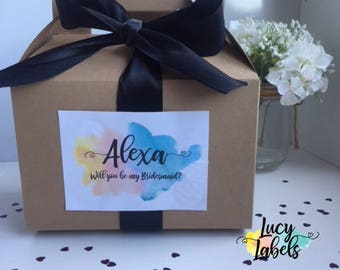 Bridesmaid Proposal Custom Gift Box - Rainbow - Box Label Ribbon | Gift Will You Be My Bridesmaid Gift Box - Bridal Party | Eco | Wedding