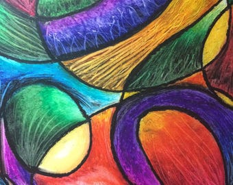The Present an Abstract Oil Pastel Original