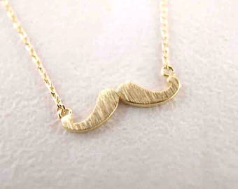 Mustache necklace - gold mustache pendant men women - mustache jewelry - hipster mustache necklace - mustache charm - tiny small mustache
