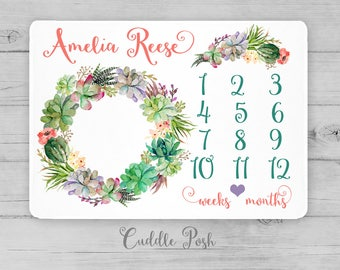 BOHO Baby Milestone Blanket, Watercolor Floral Succulent Cactus, Newborn Photography Backdrop, Month Growth Chart, Custom Baby Shower Gift