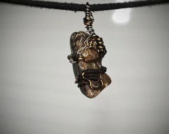 Turritella Agate Pendant - Wire Wrapped Jewelry - Black White and Brown Seashell Formations - Small Handmade Necklace