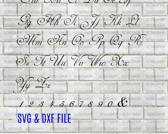 Script Font svg cut file, Fancy, Silhouette File, Cut File, SVG, DXF, Alphabet, DIY, Print, Calligraphy font, Design Space, Digital download
