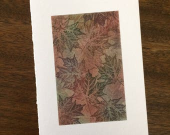 Maple tapestry no. 5 blank card, individually handmade: A7, notecards, fine cards