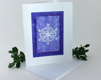 Snowflake embossed blank card, individually made on hand-painted papers: A2, notecards, fine cards, let it snow, winter, SKU BLA21023