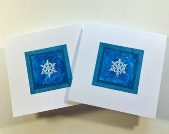 Snowflake on cerulean blue embossed blank cards (set of 2), individually handmade: A2, winter, notecards, fine cards, SKU BLSQ1006