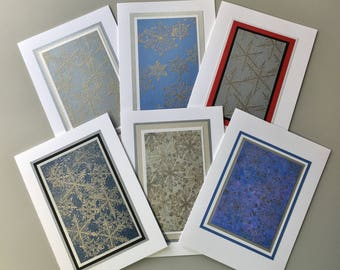Snowflake embossed cards (assorted set of 6), individually handmade: peace on earth, A7, SKU PEA71008