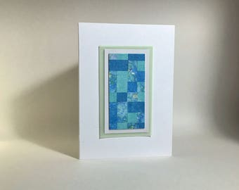 Pastel quilt blank card, original art, individually made from hand-painted papers: A6, fine card, notecard, SKU BLA61009