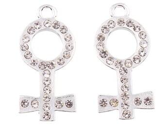 5 Female Symbol Charm, Rhinestone Female Symbol Charm, Me too Charms (1-91)