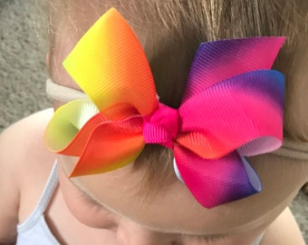 Baby Headband with Rainbow Bow / Rainbow Color Bow