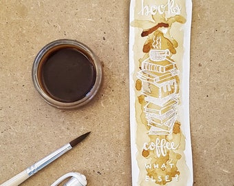 Hand painted paper bookmark with coffee and pen-paper bookmarks coffee lovers-paper bookmark for notebook books