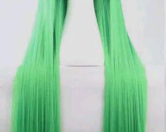 Customizable - NEON GREEN -  long straight Wig w/ bangs - scene emo cosplay anime punk lolita mermaid hair styles Wig -