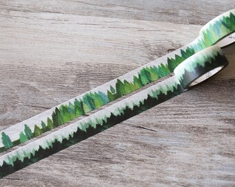 Green forest washi tape,Woodland Washi Tape, misty forest Crafting Tape,night tree planner tape