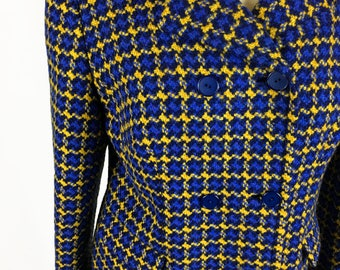 Vintage Retro Blue and Yellow 60's Eastex Skirt Suit