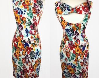 Vintage Retro 60's Style Cut Out Midi Wiggle Dress