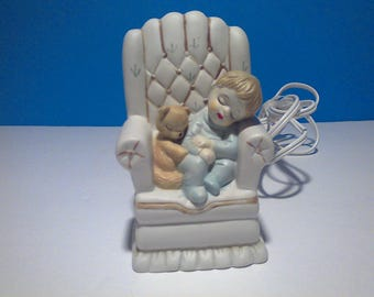 Vintage Sleeping Boy with his Bear in a chair night light