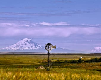 Oregon Mountains and Windmill Photo Wall Art