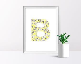 B, Alphabet, Watercolour Illustration, A4/A5  Print