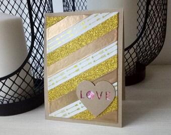 Card LOVE gold & copper