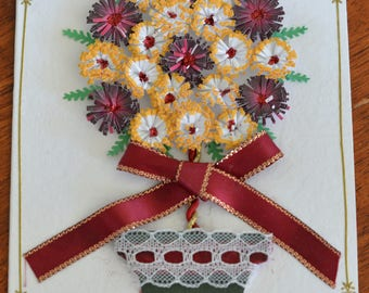 Gold and Burgundy Topiary Tree Handmade Quilled Card
