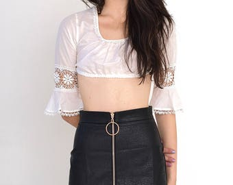 VINTAGE White Retro Crop Drop Tube Top