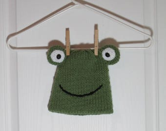 """Baby Beanie Hat Featuring """"Fonda"""" the Frog"""