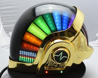 Daft Punk Helmet Guy Man Discovery Era, with LEDs, Chromed, Small Defect!