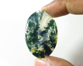Moss Agate cabochon. Top quality~ 36 Cts. Natural Moss Agate cabochon. oval Green Moss Agate loose gemstone. Moss Agate gemstone. MX-461