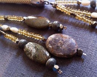 Long necklace with natural stone ,collezione Les gris gris by FrancescaB