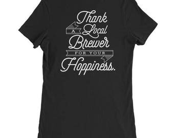 "Women's ""Thank a Local Brewer for your Hoppiness"" T-Shirt - Black"