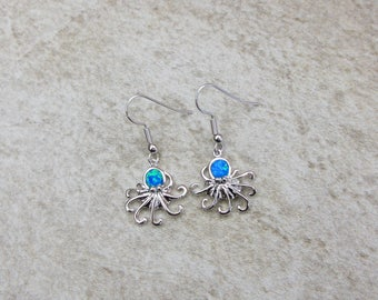 Opal Octopus Earrings, Blue Fire Opal Earrings with 925 Sterling Silver (A0055)
