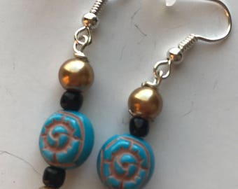 Gold, Blue, and Black Beaded drop earrings, Gold Blue Black Beaded earrings, blue and gold earrings, beaded drop earrings