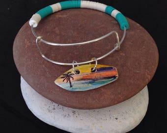 Surfer Bracelet, Surfboard Bracelet, Surf Bracelet, Surfing Jewelry, Gift for Surfer, Tropical Bracelet, Gift for Beach Lover, Resort Wear