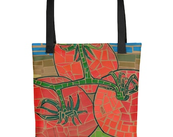 Tomato Mosaic - Amazingly beautiful full color tote bag with black handle featuring children's donated artwork.