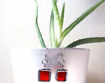 Handmade Red Dangle Earrings. 925 Sterling Silver Hooks, Stained Glass, Tiffany Technique. Unique Gift!