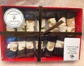 Montelimar nougat dipped in 70% dark chocolate