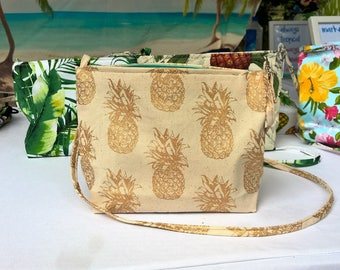 Tropical gold Pineapple print handbag