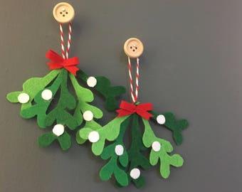 Handmade felt Christmas Mistletoe hanging decorations