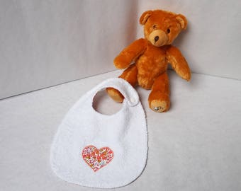 Terry towel Liberty wiltshire squash and fabric baby bib white heart pattern