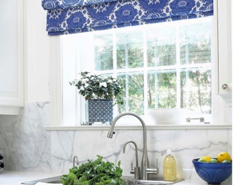 Roman Shades CUSTOM Sizes QUICK SHIP Pick Your Fabric Roman Shades Blue  Kitchen Relaxed Flat Roman