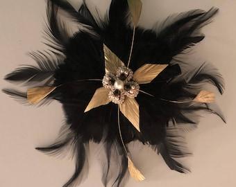 Black & gold deco hair clip