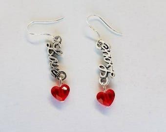 Swarovski Red Heart 'Love' Earrings, Heart Earrings, Valentines gift, Love Earrings, Red Earrings, Gift for Her