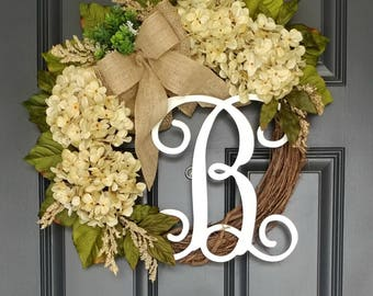 Everyday Wreath,Hydrangea Wreath,Year Round Wreath,Front Door Wreath,Spring Wreath,Door Wreath,Grapevine Wreath,Farmhouse Decor,Mother's Day