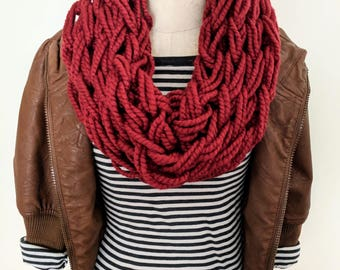 Burgundy Arm Knit Scarf | Red Arm Knit Scarf | Burgundy Inifity Scarf | Arm Knitting Infinity Scarf | Winter Scarves | Wine Colored Scarf |