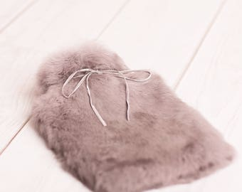 Cloud Grey Fur Hot Water, Luxury Hot Water Bottle, Fur Hot Water Bottle
